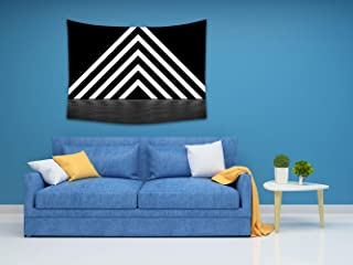 COLORSFOU Pyramid Consisting Glowing Stripes Render Custom Cotton Linen Wall Tapestry 80x 60 Inch Hanging Art for Living Room Bedroom Decor