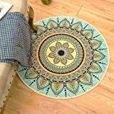 Sunflower Carpet Cloakroom Lomoco Ethnic Wind Bohemia Floor Cushion, Foreign Trade Footpad, Round Carpet Computer Chair Cushion,Diameter 178cm,Bohemia-Blue Mattress