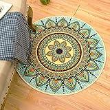 Sunflower Carpet Cloakroom Lomoco Ethnic Wind Bohemia Floor Cushion, Foreign Trade Footpad, Round Carpet Computer Chair Cushion,Diameter 80cm,Bohemia-Blue Mattress