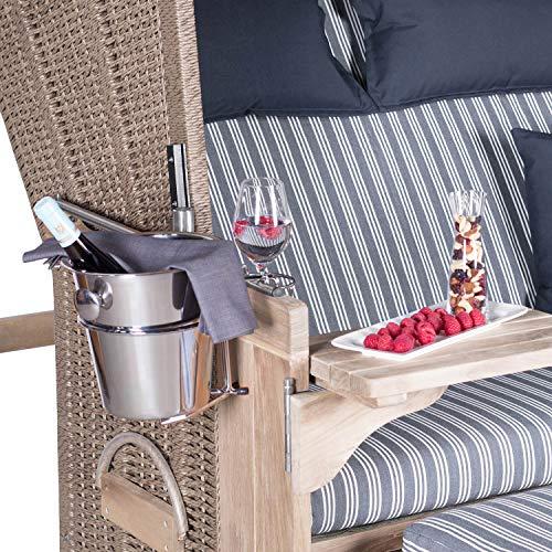 Mr. Deko Champagnerkühler für Strandkörbe - Sekt - Behälter - Kühler - Edel - EIS - Accessoire - Garten - Strandkorb