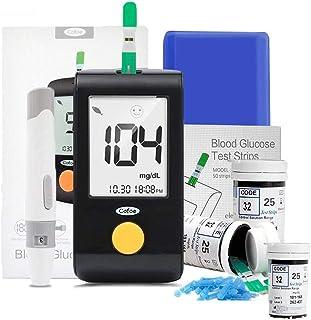 SUMMER Medidor de glucosa en Sangre, La Mujer Embarazada y el medidor de glucosa en Sangre de Ancianos con 100 Tiras reactivas y 100 Agujas, for monitoreo del hogar (Negro)