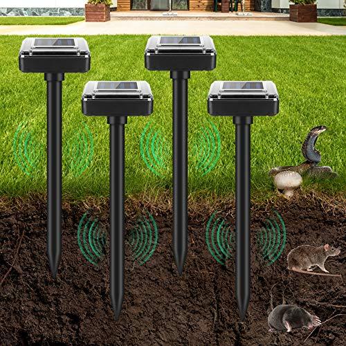 Ahuyentador solar de topos, 4 unidades, ultrasónico, repelente de topos, repelente de roedores, repelente de moles, repelente de plagas, protección IP56 para jardín, césped, patios