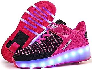 Knnnen USB Rechargable LED Light Up Single Wheeled Roller Shoes for Boys Girls Kids Skate Shoes with One Wheels