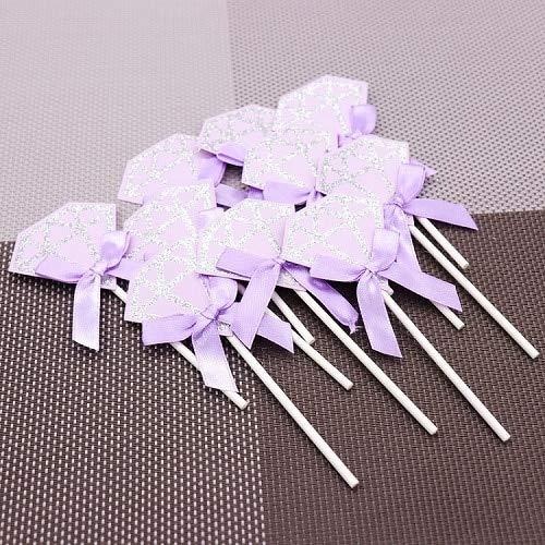 10pcs Lovely Diamond Cupcake Toppers Pink Happy Birthday Cake Insert Cards DIY Paper Satin Bowknot Wedding Decoration Purple