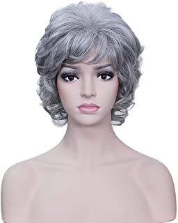 Deifor Older Women Short Messy Curly Synthetic Hair High Temperatuer Natural As Real Hair Wigs for Daily Use (Silver White)