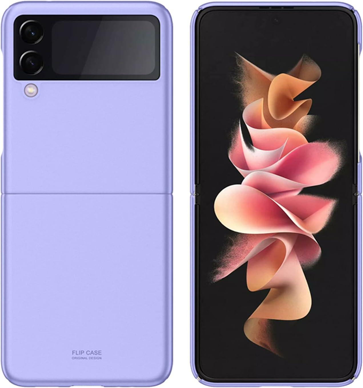 Z Flip 3 5G Case,DAMONDY Case for Galaxy Z Flip 3 5G,Thin Premium Hard Plastic Matte Finish Anti-Scratch Cover Cases for Samsung Galaxy Z Flip 3 2021 -Purple