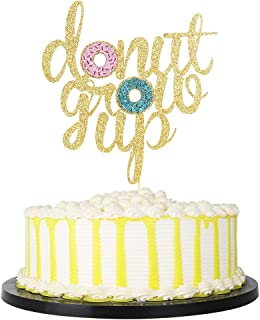 PALASASA Handmade Donut Grow Up Cake Topper, Kids Birthday Party Decoration Supplies