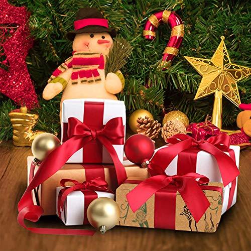 MIFIRE Papel de regalo Kraft navideño, paquete de 5 hojas grandes de 76 x 50 cm con 5 diseños navideños, paquete con cinta de copo de nieve navideña de 5 m