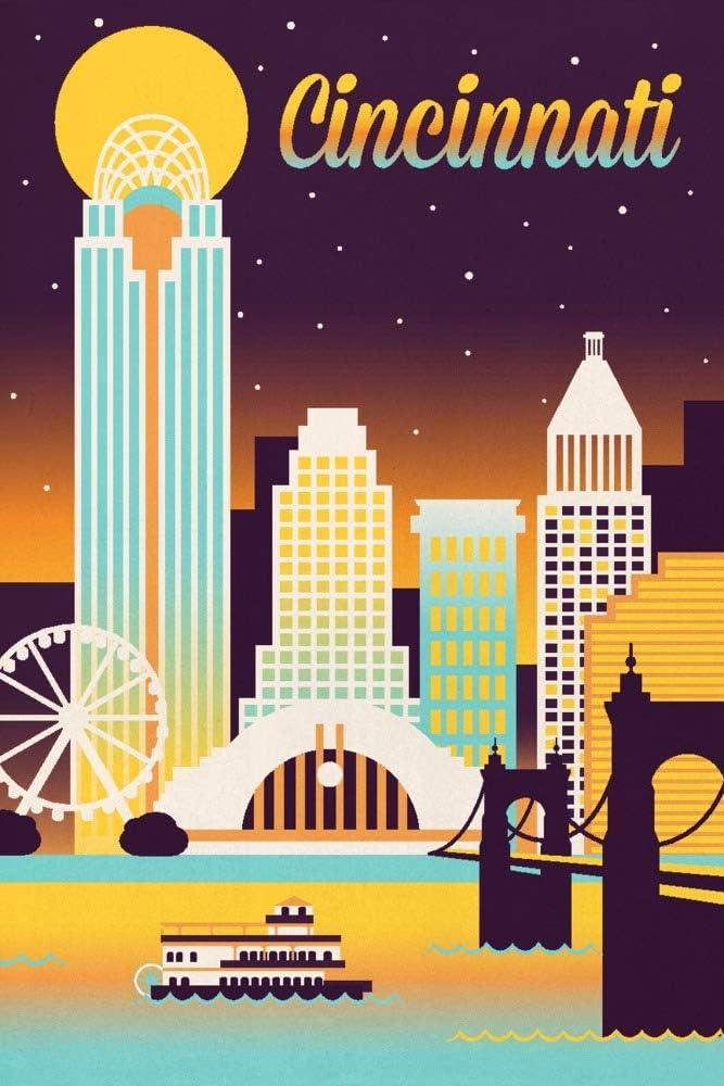 Cincinnati Ohio - Retro Skyline Ranking TOP1 108742 Chromatic Washington Mall Series 36x54