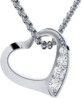"""heart necklace gift girlfriend heart shaped pendant Sterling Silver 925 chain with """"I love you"""" engraving and luxury box perfect gift for girlfriend I love you present"""