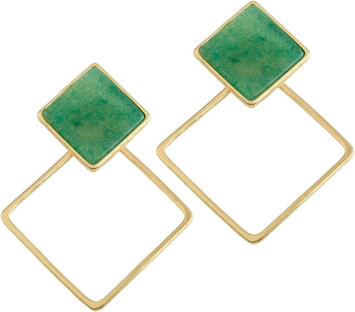 SUNYIK Crystal Stone Square Stud Earrings,Ear Jacket,for Women