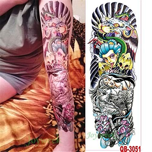 tzxdbh 3 Unids Impermeable Etiqueta Engomada del Tatuaje Temporal Brazo Completo Grande del Diablo del Reloj Tatto Pegatinas Tatuajes Tatoo para Hombres Mujeres 3 Unids-11