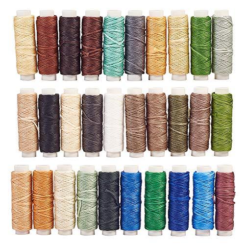 NBEADS 1 Juego 30 Rollos 16.4 Yardas/Rollo Hilos de Cordón Encerados de Cuero de Poliéster Plano, Hilo de Costura Largo Práctico de Color Mixto para Artesanía de Cuero Reparación