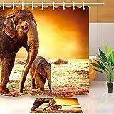 taquxinlaowan Elefante Madre con Baby Shower Cortina Set Baño Baño Accesorios