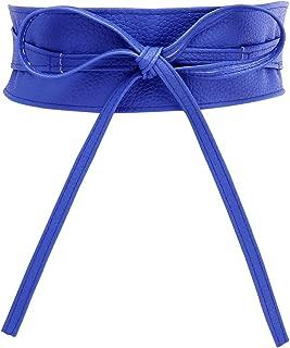 Fashion Women Faux Leather Bow Tie Waistband Waist Strap Cummerbund for Dress