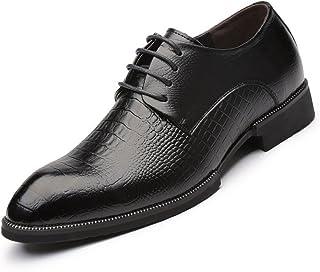 [Flova] 4.5cm身長アップ ビジネスシューズ メンズ シークレットシューズ 紳士靴 ワニ柄 本革 黒 ブラック/24-26cm