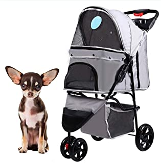 Pet stroller Three-Wheeled Pet Stroller,Pet Stroller, Collapsible Pet Stroller, Small Pet Stroller,Pet Supplies,for Small and Medium Pets (Color : Grey)
