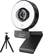 1080P/60fps Autofocus Live Streaming Webcam with Tripod, AUSDOM AF660 StreamCam with Built-in Adjustable Ring Light & Dual...