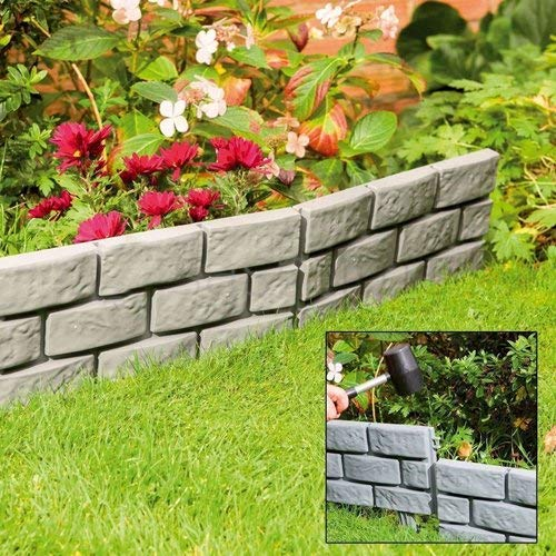Lawn Border Edging | Plastic Garden Border for Straight and Curved Shapes | Stone-Effect Brick Effect Available or Black Fence | Flexible Interlocking Path Edge (Stone)