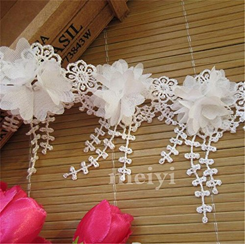 1 Yard Flower 3D Tassels Fringe Lace Edge Trim Ribbon 9 cm Width Vintage Style White Edging Trimmings Fabric Embroidered Applique Sewing Craft Wedding Bridal Dress Embellishment DIY Clothes Embroidery
