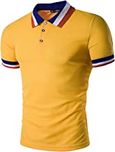 Sportides Mens Polo Shirts Contrast Collar Golf Tennis Short Sleeve Shirt Tops JZA012
