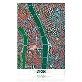 Springflower Wandaufkleber Lyon-Karte, Premium-Kunstdruck,