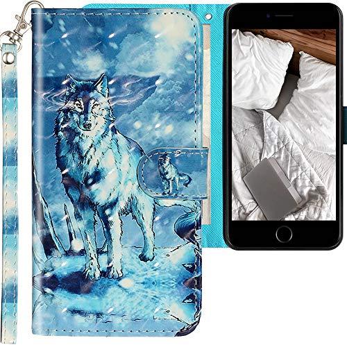 CLM-Tech Cover Compatibile con Apple iPhone 7 Plus / 8 Plus, Sintetica Pelle Custodia, Portafoglio con Funzione Supporto e Slots, Lupo Montagna di Neve Blu