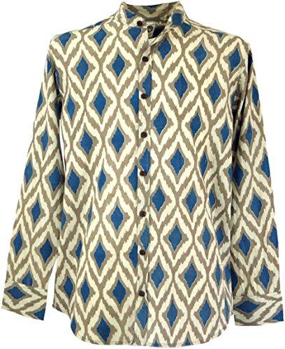 Guru-Shop Freizeithemd, Goa Boho Hemd, Langarm Herrenhemd mit Afrikanischem Druck, Stehkragenhemd, Marine/Sand, Baumwolle, Size:XL, Hemden Alternative Bekleidung