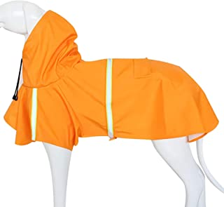 Dogs Waterproof Coat with Hoodie,Legs & Harness Hole, Reflective Puppys Jacket, High Visibility Dog Raincoat Suit for Smal...