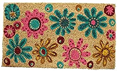 Decorative Coir Entrance Door Mat Flowers 70 cm x 40 cm