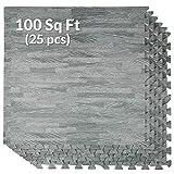 Home Aesthetics 100 Sq. Ft 3/8 Inch Thick Interlocking Foam Mats Flooring, Sea Haze Grey Wood Grain Style Print - (24'x24', 25 pcs), Protective Flooring 1 Year Warranty