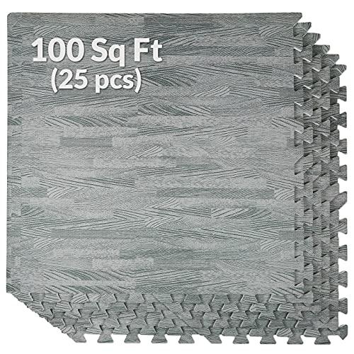 Home Aesthetics 100 Sq. Ft 3/8 Inch Thick Interlocking Foam Mats Flooring, Sea Haze Grey Wood Grain Style Print - (24x24, 25 pcs), Protective Flooring 1 Year Warranty