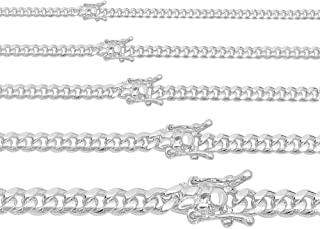 Solid 925 Sterling Silver Miami Cuban Link Chain Or Bracelet - Box Lock Cuban Link 4-10.5mm - Italy Men's Necklace