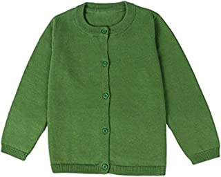 Baby Boys Girls Button-Down Basic Crew Neck Solid Cardigan Toddler Cotton Knit Sweater