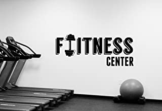 Fitness Center Sign Wall Decal Removable Vinyl Sticker Window Decorations Sports Room Crossfit Gym Workout Bodybuilding Club Studio Decor fgm24