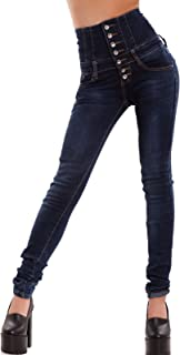 Toocool Jeans Donna Pantaloni Skinny Vita Alta Elasticizzati Pizzo Strappi Nuovi W0774