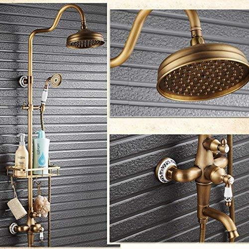 CLJ-LJ Juego de ducha estilo retro solo mango de cerámica lluvia 8 pulgadas grifo de ducha giratorio bañera caño con cesta soporte de almacenamiento