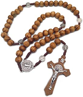 Ytbeauti St Benedict Mens Catholic Rosary Necklace Handmade Wooden Cross Necklace Religious Jewelry