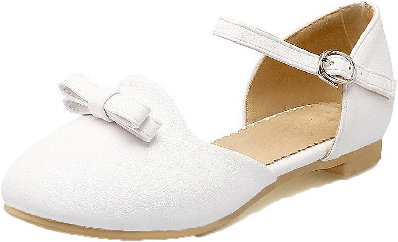 WeenFashion Women's Low-Heels PU Solid Buckle Round-Toe Sandals