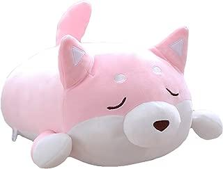 Shiba Inu Dog Plush Pillow, Cute Corgi Akita Stuffed Animals Doll Toy Gifts for Valentine's Gift, Christmas,Sofa Chair, Pink Blink, 22.8