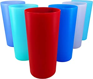YUYUHUA 26-ounce Plastic Tumblers Reusable Bpa-free Dishwasher Safe Cups Set of 6 For Kitchen Home Party Indoor Outdoor Use (6 Assorted Color)
