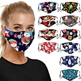 Christmas Print Face Covering with Ear Loops Snowflake Printed Face_Mask for Adult Prevention Washable Dustproof Reusable Face Bandana for Running, Cycling, Outdoor Activities