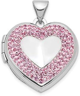 30mm x 24mm Diamond-Cut Mom Heart Locket Mia Diamonds 925 Sterling Silver Solid 24mm Enameled