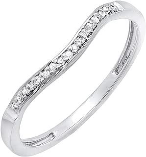 0.10 Carat (ctw) Round White Diamond Ladies Wedding Guard Band Ring 1/10 CT, Sterling Silver
