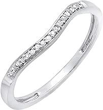 Dazzlingrock Collection 0.10 Carat (ctw) Round White Diamond Ladies Wedding Guard Band Ring 1/10 CT, 10K Gold