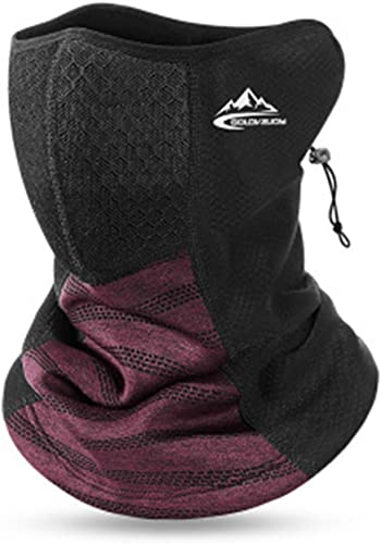 discount Winter high quality Neck Gaiter for Men Face Bandana Mask with Filter Pocket Windproof Fleece Half Face Scarf Neck Gaiter Scarf Women Men for popular Outdoor Use Red sale