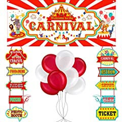 Carnival party supplies: an amazing idea for your teen's circus carnival birthday party, great to match with clown, balloons, coordinate different party zones with these carnival signs, circus banner and balloons to add characteristics to the theme, ...