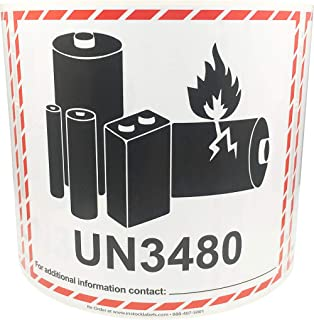 Laminated Lithium Ion Battery Warning UN3480 Labels 4.5 x 5 Inch 500 Total Stickers on a Roll