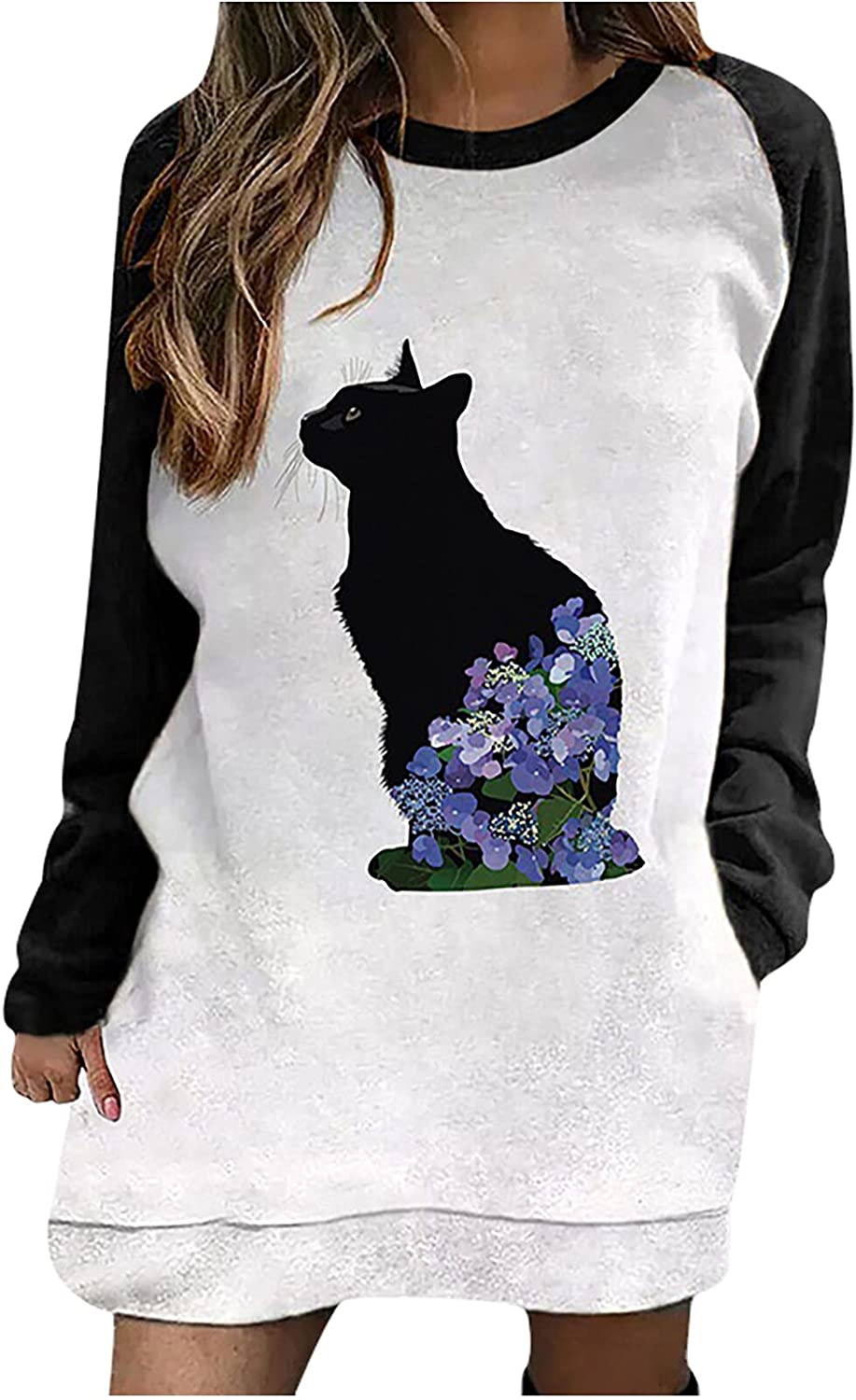 Shirts for Women Graphic T-Shirts Loose Fit Tops Long Sleeve Colorblock Pullover Simple Blouse Fall Casual Sweatshirt