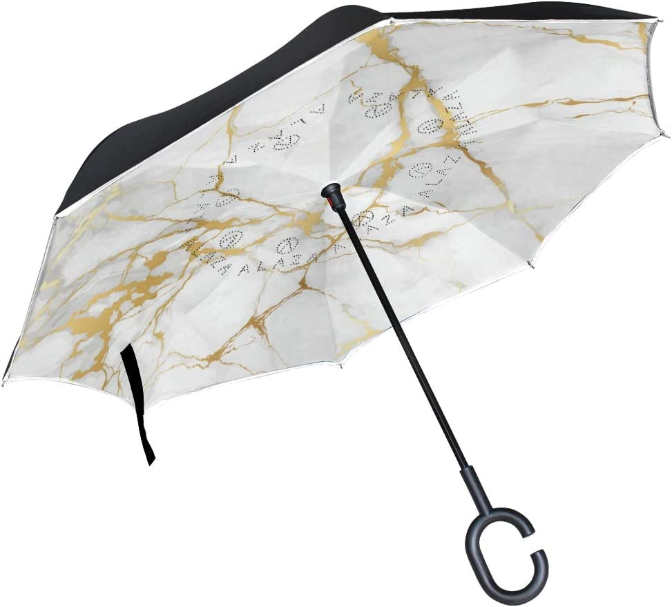 Choice Wamika Marble Easy-to-use Golden Texture Reverse Inverted Umbrella